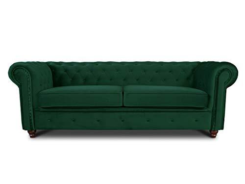 Sofa Chesterfield Asti 3-Sitzer, Couch 3-er, Glamour Design, Couchgarnitur, Sofagarnitur, Holzfüße, Polstersofa - Wohnzimmer, Velours (Dunkelgrün (Velvet 78))