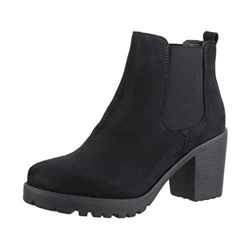 Elara Damen Stiefeletten Ankle Boots Chunkyrayan H-KA523-1sl Black-40