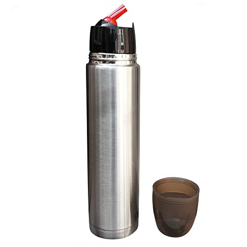 Gaucho Bruno – Borraccia in acciaio inox da 1 litro per bere Yerba Mate | con beccuccio rosso iconico per versare precisione | durevole | senza manico per un facile trasporto