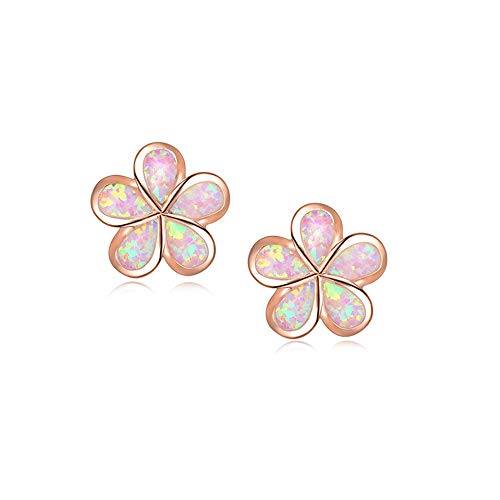 CiNily Hypoallergenic Flower Stud Earrings,Pink Opal Stud Earrings 14K Rose Gold Plated Flower Jewelry Gift for mom,Girls,Women
