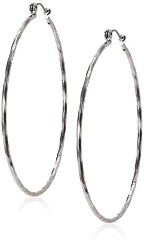 Lucky Brand Big Hammered Hoop Earrings, Silver, One Size