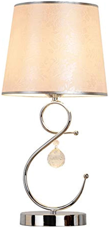 LED Kristall Tischlampe Nachttischlampe Warm Und Einfach Silber Stoff Dekorative Schreibtischlampe Nordic Wohnzimmer Schlafzimmer Studie Beleuchtung Leselampe
