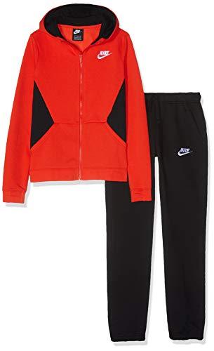 Nike Jungen Sportswear Jogginganzug, Rot (Habanero Red/Black/White 634), Large