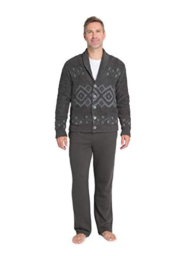 Barefoot Dreams CozyChic Men's Topanga Cardigan, Sweater, Travel, Long Sweater, Carbon Multi, XX-Large