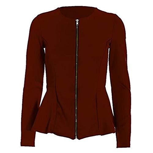 Nieuwe Vrouwen Dames Plain Zip Peplum Frill Getailleerde Blazer Jas Top Grote Maat UK 8-24 (12, Wijn)
