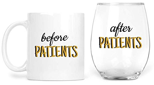 Before Patients 11 oz Coffee Mug After Patients 15 oz Stemless Wine Glass Set - For Nurses, CNA, Nurse Practitioner, Doctor, LPN, Funny Nurse, Medical Gifts, and Christmas