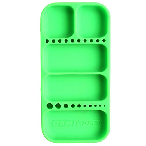 OEMTOOLS 22414 Flexi-Tray, Small Rubber Tool Mat Tray, Heat and Oil Resistant Silicone Tool Tray, Easily Pick Up Parts from Round-Bottom Compartments, Green