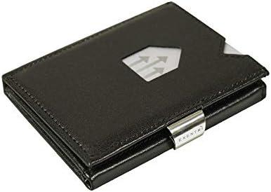 Cartera de piel, de Exentri, con bloqueo RFID antirrobo, color Negro, talla S
