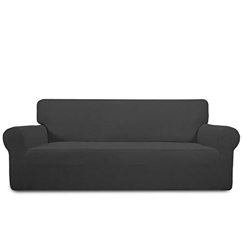 PureFit Stretch Sofa Slipcover – Spandex Jacquard Non Slip Soft Couch Sofa Cover, Washable Furniture Protector with Non Skid Foam and Elastic Bottom for Kids (Sofa, Dark Gray)
