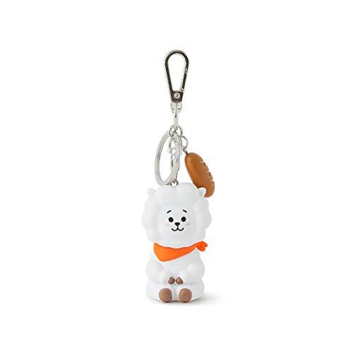 BT21 RJ Character Mini Cute Figure Keychain Key Ring Bag Charm with Clip, White