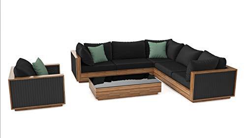 ARTELIA Tahiti Lounge Set Balkonmöbel aus Holz und Rattan Gartenmöbel-Set für Garten, Wintergarten und Balkon, Sitzgruppe, Terrassenmöbel, naturfarbe Akazie