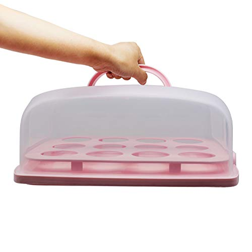 """Rectangle Cake and Cupcake Muffin Carrier with Easy to Transport Collapsible Handles for Muffins, Cookies or Dessert to Parties Suitable for 11""""(L) X 7""""(W) Cake or Less (Pink)"""