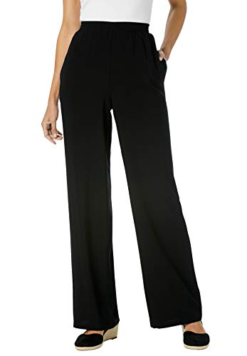 Woman Within Women's Plus Size Pull-On Elastic Waist Soft Pants - 22 W, Black