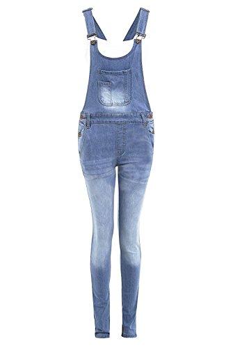 Shelikes Damen Latzhose mit Tasche, geknöpft, Blau Gr. 34, hellblau