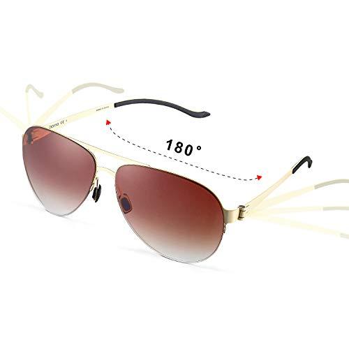 GONNA Vintage Aviator Sonnenbrille UV-Schutz für Herren und Damen Ultraleichter und transparenter Metallrahmen aus rundem Glas für Unisex-Mode-Accessoires , Brauner Farbverlauf