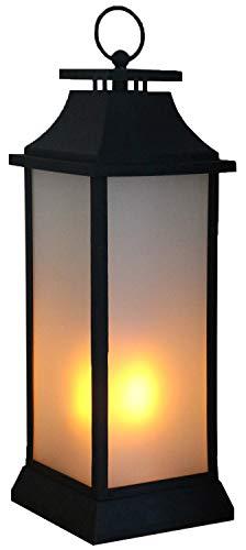 Tronje XXL LED Laterne 55cm schwarz 4h-Timer Feuersimulation lodernde Flammen Feuerschein Deko-Leuchte kabellos
