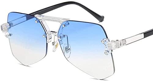 Gafas de sol de carreras Gafas de sol Moda Pequeña Forma Redonda Sin Marco de las Mujeres s Remache Gafas de sol Protección UV Gafas de sol al aire libre - Sliver