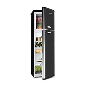 KLARSTEIN Audrey Retro - Combiné réfrigérateur, 194 L, Congélateur 56 L, Classe E, 3 étagères en Verre, 1 Grille à Bouteilles, 4 Compartiments de Porte - Noir