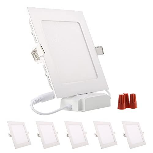 5er Greenclick 9W 12w Panel LED Lámpara de techo cuadrada blanca Foco empotrable regulable, extremadamente plano, 220V 720Lumen Reemplaza la luz de techo LED de tubos fluorescentes de 60W (3000k, panel cuadrado de 9w)