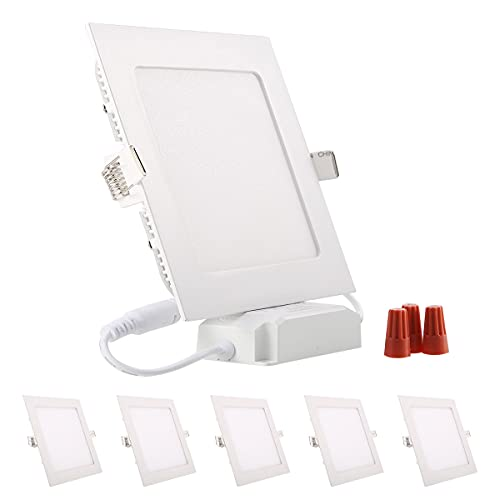 5er Greenclick 9W 12w LED Panel Lampada da soffitto quadrata bianca Faretto da incasso dimmerabile, estremamente piatto, 220V 720Lumen Sostituisce la plafoniera a LED a tubi fluorescenti da 60W (3000k, pannello quadrato da 9w)