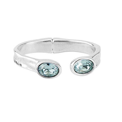 UNOde50 Brazalete de aleación de metal mezclado chapado en plata con cristales de Swarovski 'Wish'