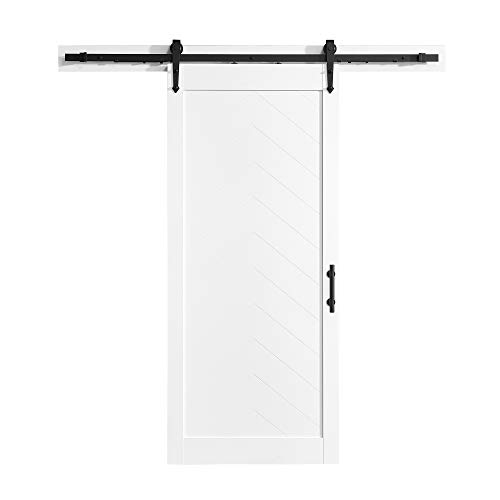 Ove Decors Cooper 36 in. x 84 in. Sliding Barn Door in Textured White Wood with Included Hardware Kit and Victorian Soft Close Rollers Mechanism, in Rustic Black Finish