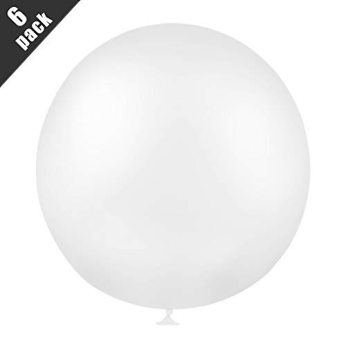 Bluelves Luftballon Hochzeit Weiß,Riesen Luftballons, Grosse Luftballons Weiß, XXL Luftballon Weiß 90cm, Latex Riesige Ballon für Hochzeit Geburtstag Taufe Babyparty Kindergeburtstag Karnevals Deko