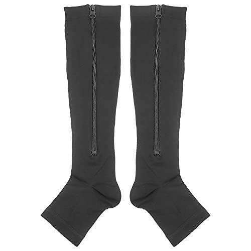 LIXBD Kniehohe Stützstrümpfe mit Reißverschluss für Gehen, Laufen, Krampfadern, XL (Farbe: Schwarz, Größe: S/M)