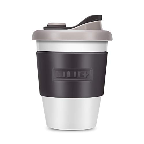 UUQ 12oz Reusable Coffee Mug, Shatterproof Insulated Lightweight Coffee Cup, Dishwasher and Microwave Safe, Leak Proof Silicone Lid& Non-Slip Silicone Eco coffee cups (Light Grey)