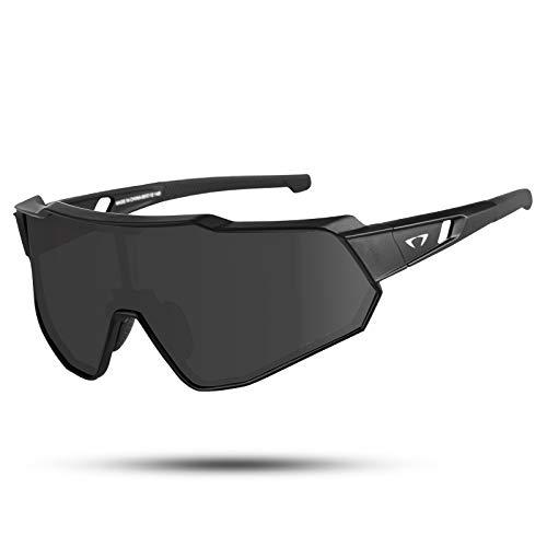 AALK Polarized Cycling Glasses Anti-UV400 TR90 MTB Safety Goggles Men Women Sports Sunglasses for Baseball Running Fishing Driving Golf (Black Grey)