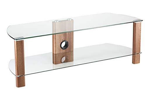 Alphason Century 1200 TV Stand - Walnut & Clear Glass