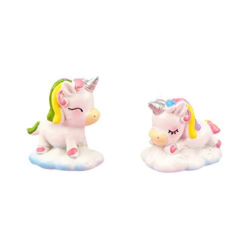 Ruiting Resina Unicorn Cake Decor 2Pcs se dirigen Ornamento Micro Paisaje Bonsai decoración de cumpleaños del Unicornio Mini Figurita