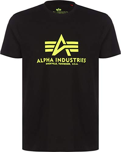 ALPHA INDUSTRIES Herren Basic T-Shirt Unterhemd, Schwarz/Neongelb, XL