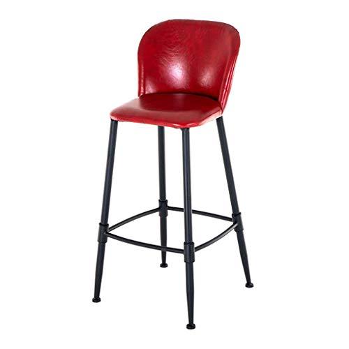 ZHJBD Meubelkruk, keukenstoel, lage rug, metalen poten, PU gestoffeerde stoel, barkruk met voetsteun, hoogte teller 29,5 inch, 330 lbs capaciteit, rood