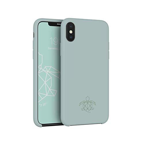 turtleandcase Hülle Kompatibel mit iPhone & kostenlosem Panzerglas. Silikon Handyhülle. Dünne Schutzcase & Stoßfest für iPhone (iPhone XS Max, Helles Minzgrün)