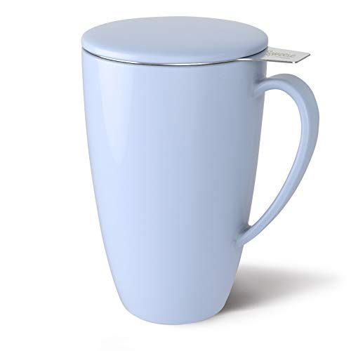 Sweese 201.110 Porcelain Tea Mug with Infuser and Lid, 15 OZ, Lilac