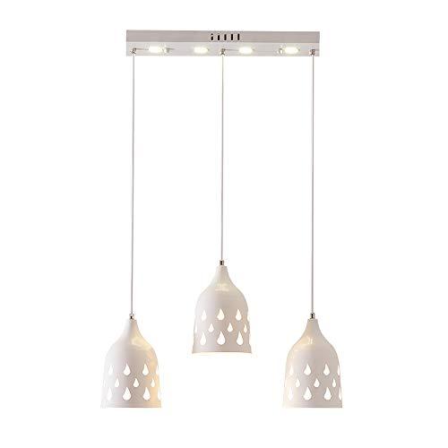 LED Suspension Lumière pendante Moderne Lustre Blanc Fer Abat jour Lampe suspendue pour Îlot de cuisine Salle à manger Table à manger Bar Café Loft Salon 3 * E27 Réglable en hauteur, L54CM