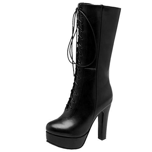 Zanpa Damen Mode Block High Heels Mit Stiefel Reißverschluss Half Stiefel Plateau Party Shoes Heels Herbst Stiefel Black Gr 46