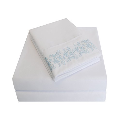 Super Soft Light Weight, 100% Brushed Microfiber, Wrinkle Resistant, Twin XL 3-Piece Sheet Set, White with Light Blue Floral Lace Embroidery Pillowcases in Gift Box