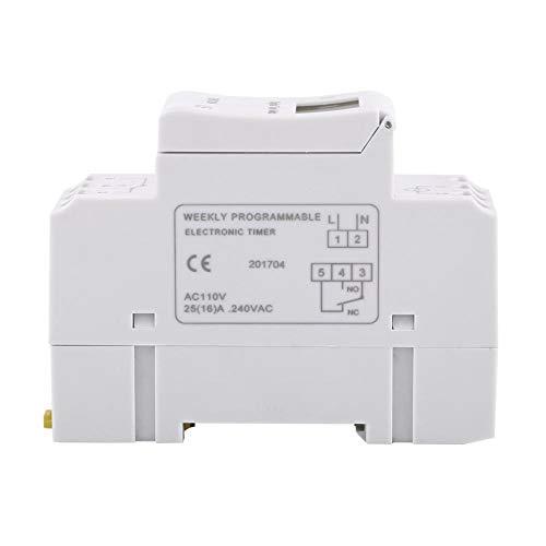 Interruptor de tiempo de relé electrónico de 16 on & 8off Temporizador programable semanal digital 1pc THC15A con chip de grado industrial(110V)
