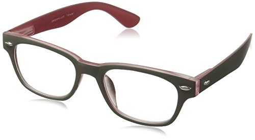 Peepers by PeeperSpecs Bellissima Rectangular Reading Glasses, Gray/Red, 49 mm + 2.5