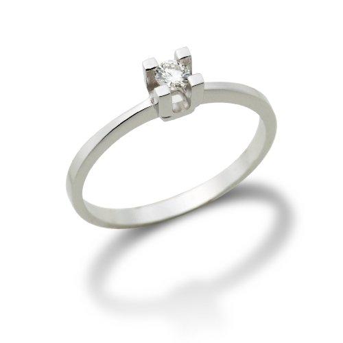 Miore MA70RWP - Anillo de de oro blanco (14k) con 1 diamante (talla: 16)