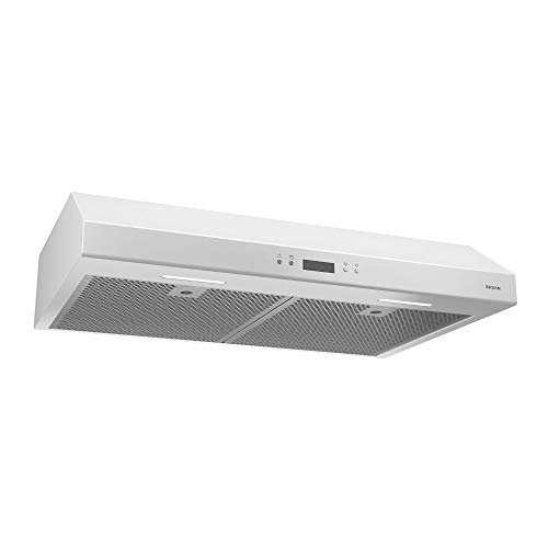 Broan-NuTone BCDJ130WH Glacier Range Hood with Light Exhaust Fan for Under Cabinet, 400 CFM, 30-Inch, White