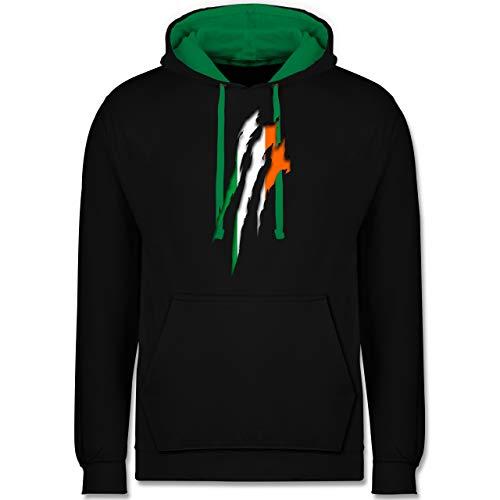 Shirtracer Länder - Irland Krallenspuren - M - Schwarz/Grün - Pullover zweifarbig - JH003 - Hoodie zweifarbig und Kapuzenpullover für Herren und Damen