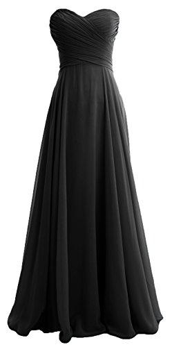 MACloth Women Chiffon Wedding Party Formal Gown Strapless Long Bridesmaid Dress (EU38, Black)