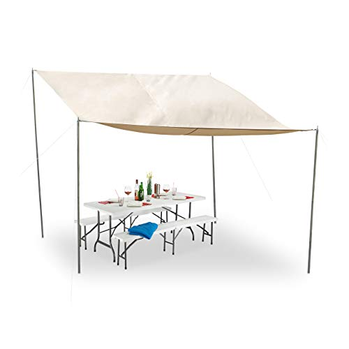 Relaxdays Voile d'ombrage rectangulaire, Piquets Sol, Cordes, Imperméable, Protection UV, Polyester, 3x4m, Beige