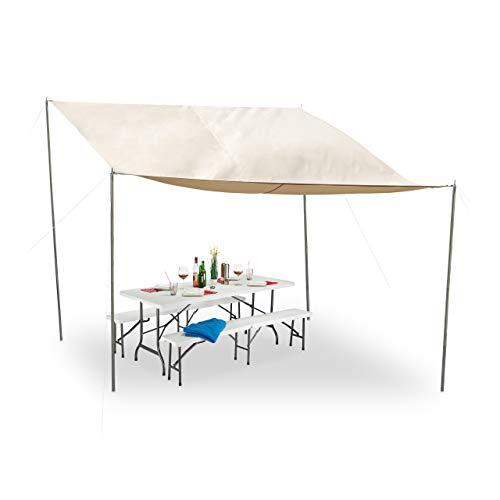 Relaxdays Sonnensegel rechteckig, steckbare Stangen, Seile, Erdspieße, wasserfest, UV-beständig, Polyester, 3x4m, beige