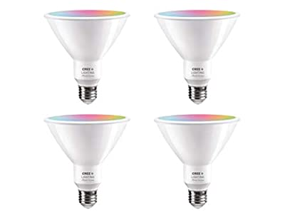 Cree Lighting Connected Max Bluetooth + WiFi Smart LED Bulb Tunable White + Color Changing PAR38 120W Outdoor Flood 4pk