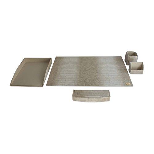 CORDAYS - Set da scrivania con 5 Pezzi di Massima qualità Fatto a Mano in Pelle Sintetica .- Colore Crema. CDL-10071