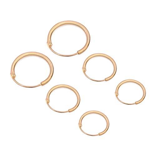 ZHINTE Earrings 3 Pares de Pendientes de círculo Redondo Minimalista, Pendientes de aro, joyería de Moda para Mujer